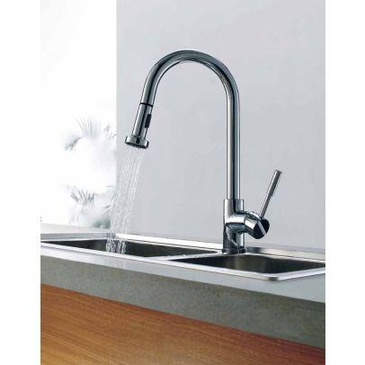 Kitchen Sink Pull Out Spray Mono Mixer Tap Chrome