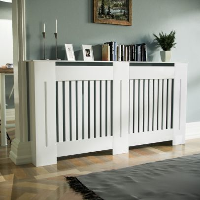 Marg 1520mm Large MDF Wood Radiator Cover Grill Cabinet Matte White