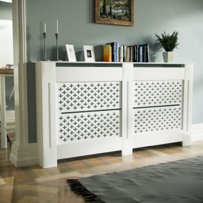 Boa 1520mm Large MDF Wood Radiator Cover Cross Pattern Grill Matte White