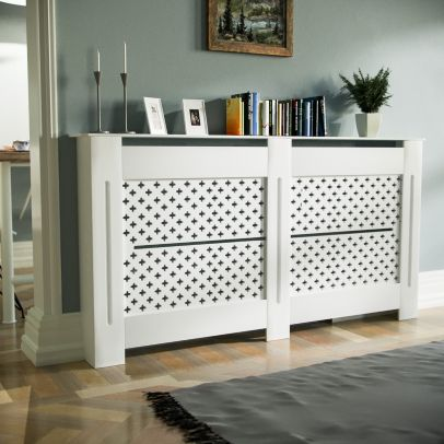 Boa 1520mm Large MDF Wood Radiator Cover Flower Pattern Grill Matte White