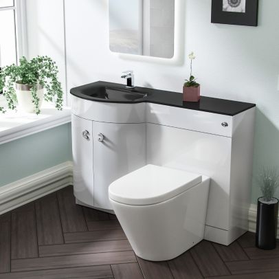 Tate LH White Vanity Sink and Elen Rimless BTW Toilet Combo with Black Basin Unit