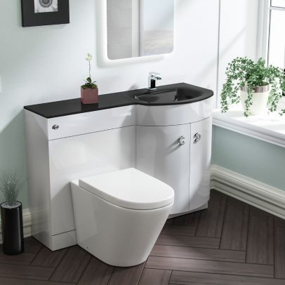 Tate RH White Vanity Sink and Elen Rimless BTW Toilet Combo with Black Basin Unit
