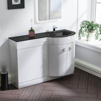 Tate 1100mm Right Hand Bathroom Basin Vanity Unit White