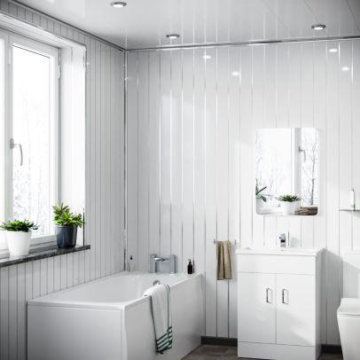 Thomson PVC Panel Gloss White Silver 2700 x 200 x 6mm