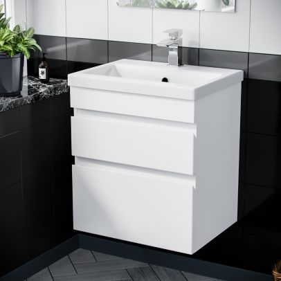 Hardie 600mm 2 Drawer White Wall Hung Vanity Cabinet and Basin Sink Unit