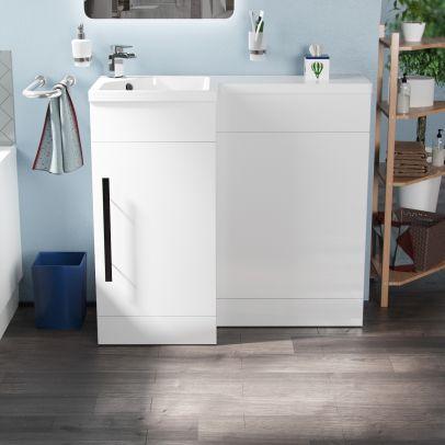 Velanil 900mm L Shape LH Bathroom Basin Vanity & WC Unit White