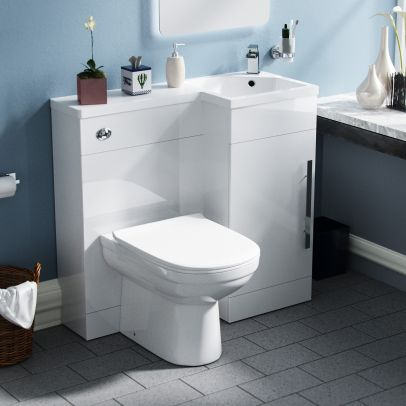Velanil Right Hand White Vanity Sink and Debra Toilet Combo Unit