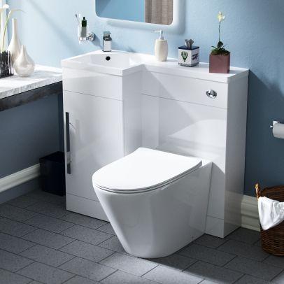 Velanil 900mm LH Bathroom Basin Combination Vanity Unit - Ellis Back To Wall Rimless Toilet