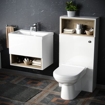 Modern White 600 mm Wall Hung Vanity Cabinet and Toilet Suite