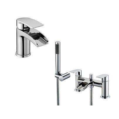 Lucy Waterfall Tap Set - Basin Mono & Bath Shower Mixer
