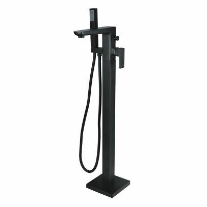 Matte Black Square Modern Freestanding Bath Shower Mixer Tap