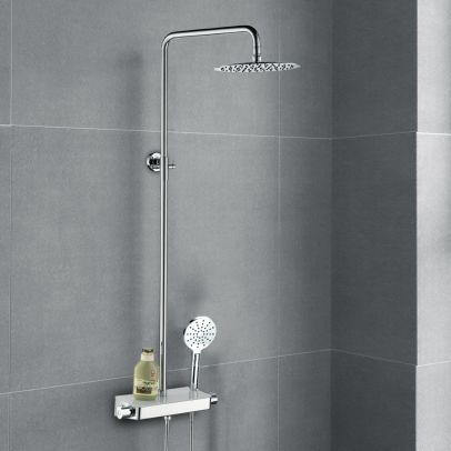 Belton Thermostatic Glass Top Shower Mixer with Riser Rail Kit
