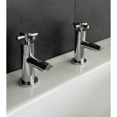 Twin Hot and Cold Bath Cross Head Taps Chrome
