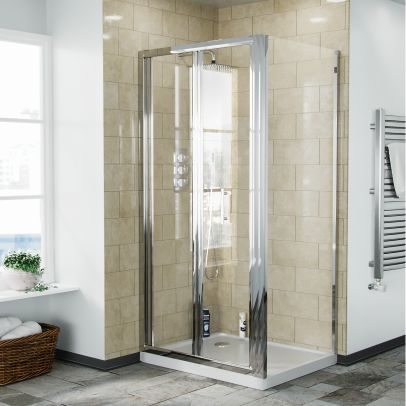Bi-Folding 900 mm Glass Shower Door with 900 Frameless Side Panel Enclosure and Tray
