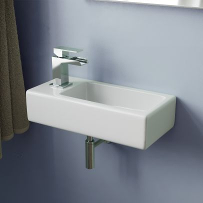 Tulla 375 x 185mm Small Cloakroom Rectangle Wall Hung Basin Sink