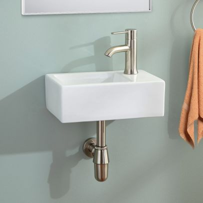 360mm BATHROOM WALL HUNG CLOAKROOM CERAMIC COMPACT BASIN SINK RIGHT HAND
