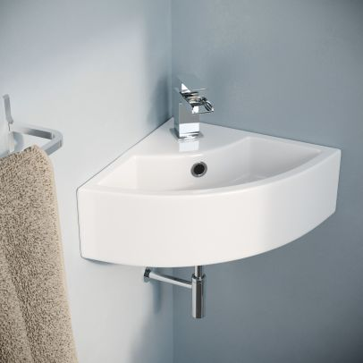 Tulla 450 x 325mm Small Quarter Corner Wall Mounted Basin with Mono Mixer Tap and Waste including P Trap Waste