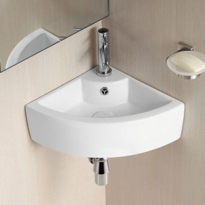 Tulla 450 x 325mm Cloakroom Small Quarter Circle Corner Wall Hung Basin Sink and Waste