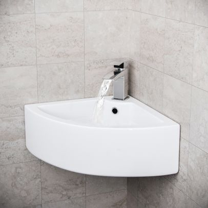 Tulla 670 x 470mm Cloakroom Large Quarter Circle Corner Wall Hung Basin Sink