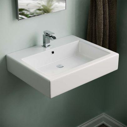 Lomond 570mm Wall Hung Rectangle Basin White