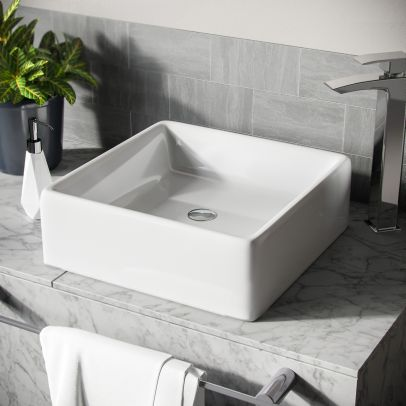 Leven 385 x 385mm Cloakroom Square Stand Alone Counter Top Basin Sink
