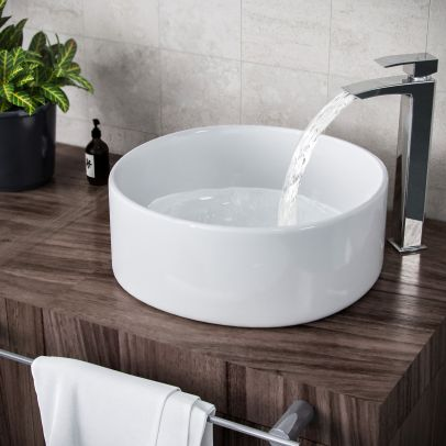 Etive 410mm Clokaroom Round Stand Alone Counter Top Basin Sink Bowl
