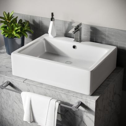 Lomond Rectangle 600 mm Large Counter Top or Wall Hung Basin