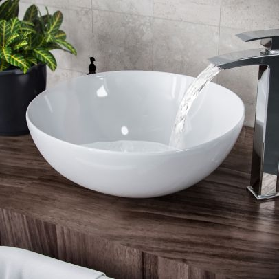 Etive 420mm X-Large Round Cloakroom Counter Top Basin Sink Bowl