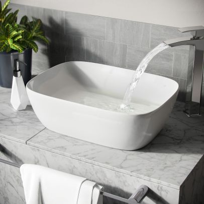 Leven Cloakroom Rectangle Stand Alone Counter Top Basin Sink Bowl