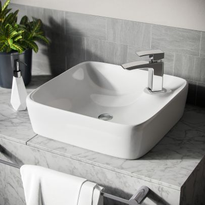 Leven 430 x 430mm Cloakroom Square Counter Top Rounded Basin Sink