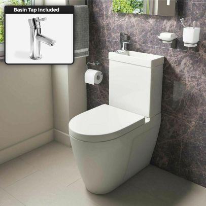 Allscot 2 in 1 Compact Basin Close Coupled Toilet & Mini Mono Basin Mixer