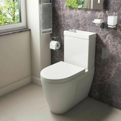 Allscot 2 in 1 Compact Basin Close Coupled Toilet Combo Space Saver Cloakroom Unit