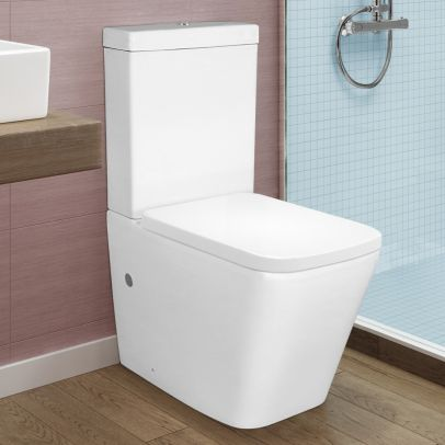 Square Rimless Close Coupled Toilet, Cistern And Soft Close Toilet Seat