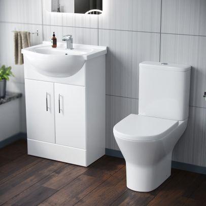 Dyon 550mm Floorstanding Basin Vanity Unit & Close Coupled Toilet White