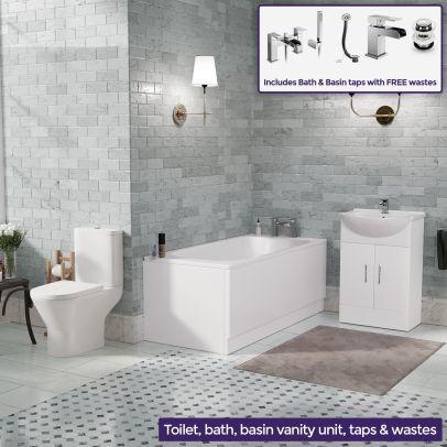 Senore Bath, Toilet and Vanity Cabinet Bathroom Suite