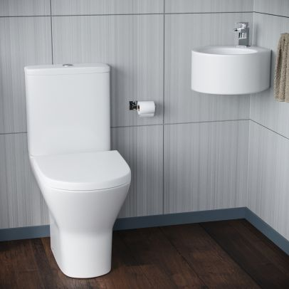 Senore Bathroom WC Closed Couple Toilet Wall Hung Cloakroom Basin Sink Suite