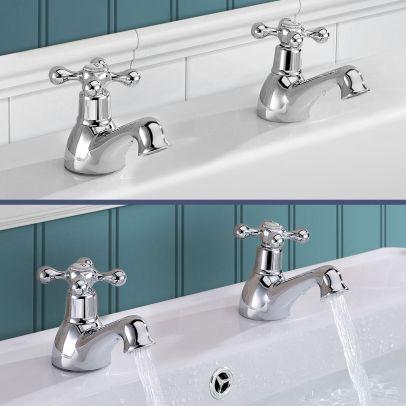 Stafford Victorian Bath & Basin Taps Set