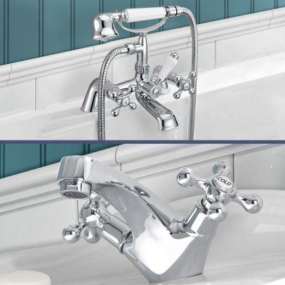 Stafford victorian Bath Shower Mixer & Basin Mono Mixer Tap