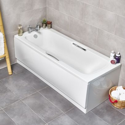 Kartell White Twin Single Ended Gripped Bath 1700 x 700mm