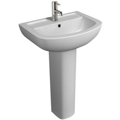 Kartell White Full Pedestal Basin 550 mm - 1 Tap Hole