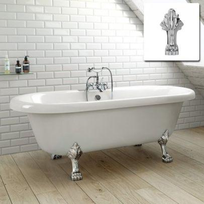 Kartell White Freestanding Bath With Chrome Leg 1500 x 800mm