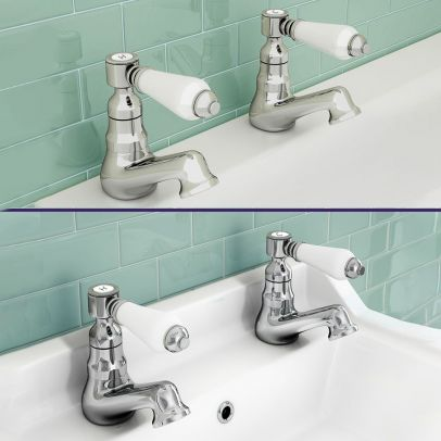 Trafford Bathroom Twin Basin & Bath Taps Chrome