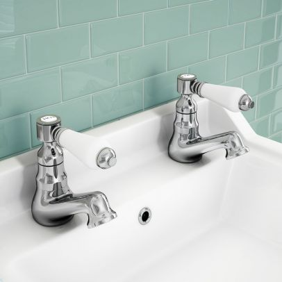 Imperior Traditional Bathroom Hot & Cold Twin Basin Taps