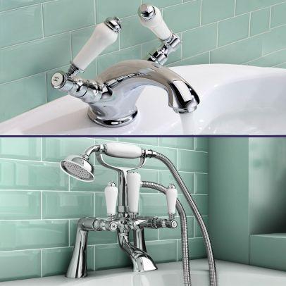 Pegehsis Traditional Bath Filler Shower Mixer & Monobloc Tap