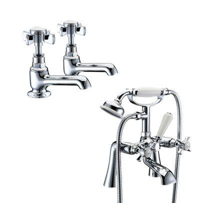 EDWARDIAN TAP SET - BASIN TAPS & BATH SHOWER MIXER
