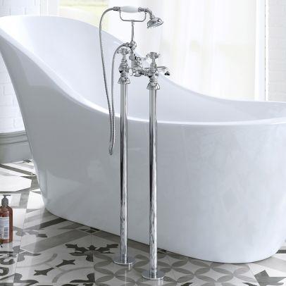 Kano Traditional Freestanding Chrome Bathroom Bath Shower Tap Mixer