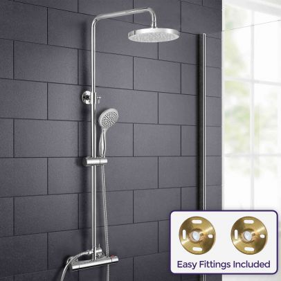 Rosa Round Thermostatic Dual Control Riser Slider Shower Handset & Easy Fittings