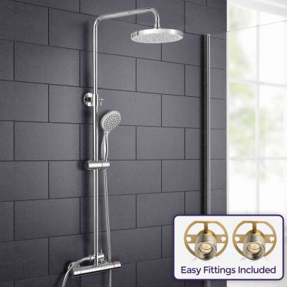 Rosa Round Thermostatic Dual Control Riser Shower Slider Handset & Easy Fittings