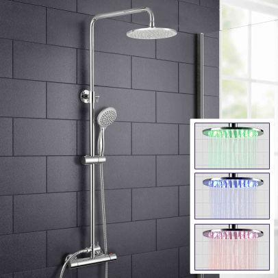 Rosa LED Chrome Round Shower Head Thermostatic Dual Control Bar Shower Mixer