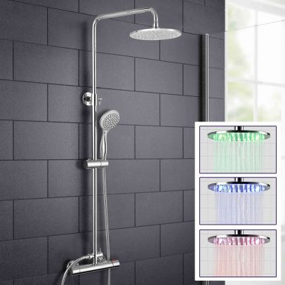 LED Light Rain Shower Round Head with Thermostatic Control Rosa